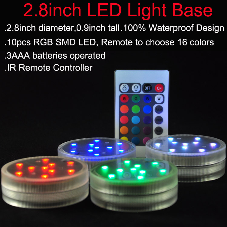 Super Bright 3AAA Battery Operated IR Remote Controlled Multicolors Submersible LED Lights For Wedding Floral Arrangement Decor(China (Mainland))