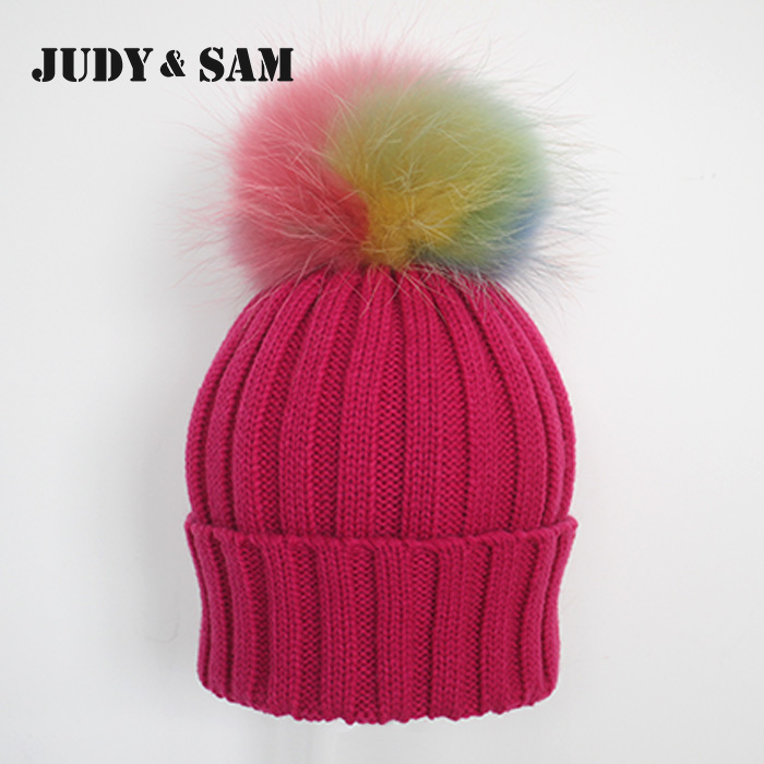 Rainbow Pompoms Stripped Knit Hat with Real Raccoon Fur Pompon Chrochet Beanies with Fur Ball(China (Mainland))