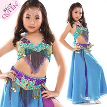 Children's Bellydance Costumes Belly Dance Suit New Girls Dance Clothing Kids Indian Dancewear Bollywood Dance Bra Belt Skirt