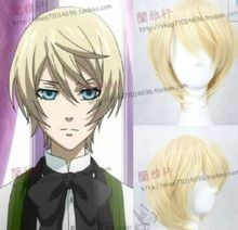 Wholesale& heat resistant LY free shipping>>>Black Butler-Alois Trancy Light Blonde short straight Cosplay Wig