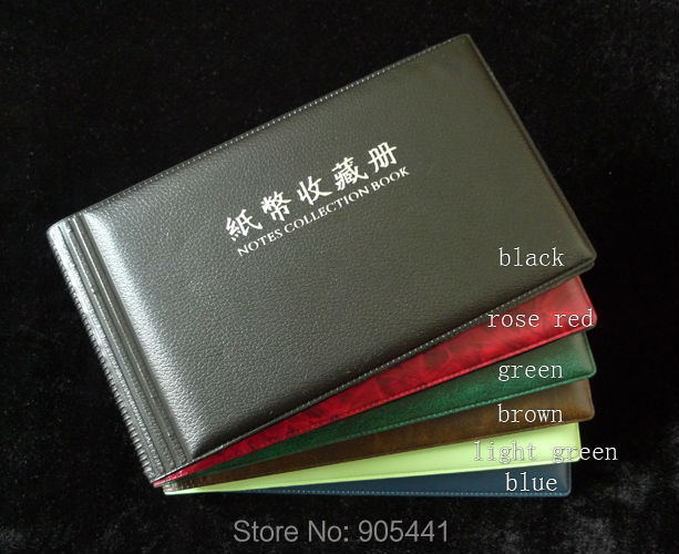 Paper Money Currency Collection Album Banknotes Holder 20/40 Pockets Protection Album Free Shipping(China (Mainland))