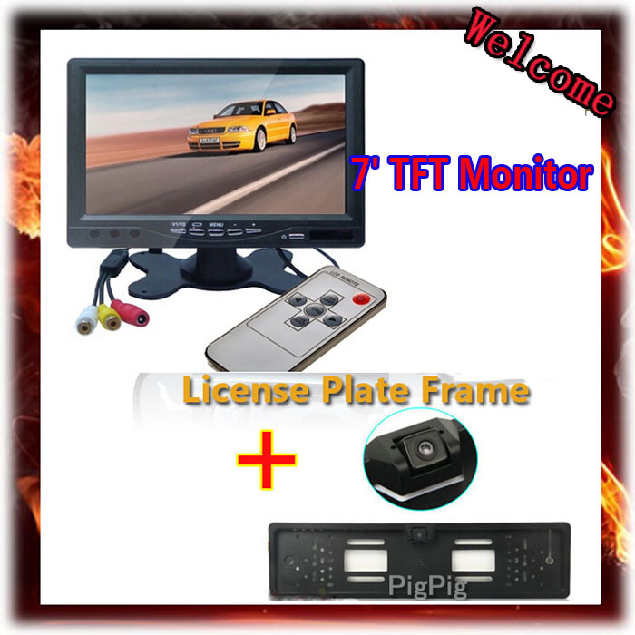 7 Inch TFT Color Car Headrest Mirror Monitor With 2 Video Input For Waterproof EU license plate Frame Parking Rear View Camera<br><br>Aliexpress