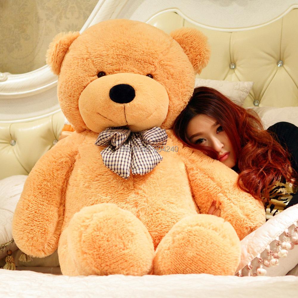 Stuffed Giant 100CM Big Plush Teddy Bear Huge Soft 100% Cotton Doll Toys Brown Teddy Bear Plush Toy Gift(China (Mainland))