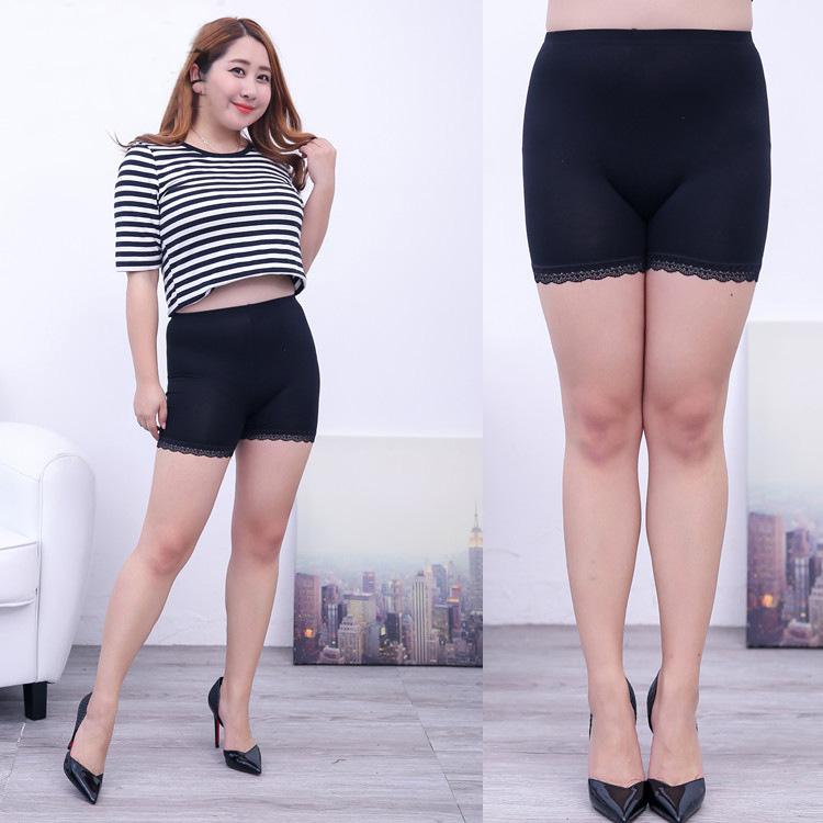 3 Color L-XXXXL Plus Size Women Fat Sexy Fashion Lace Side Huge Elastic Modal Summer Safety Short Pants Large Size Pants Women