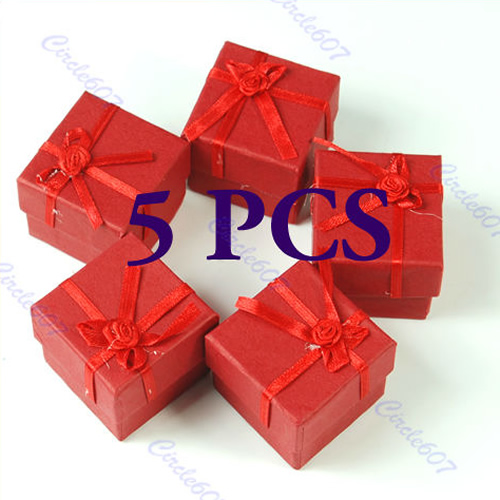 5 Pcs Square Red Jewellery Box Jewelry Gift Boxes Case for Ring(China (Mainland))