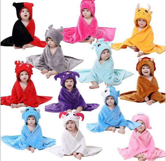 cute twelve constellations baby hooded bathrobe towel baby receiving blanket neonatal hold to be Children kids infant bathing(China (Mainland))