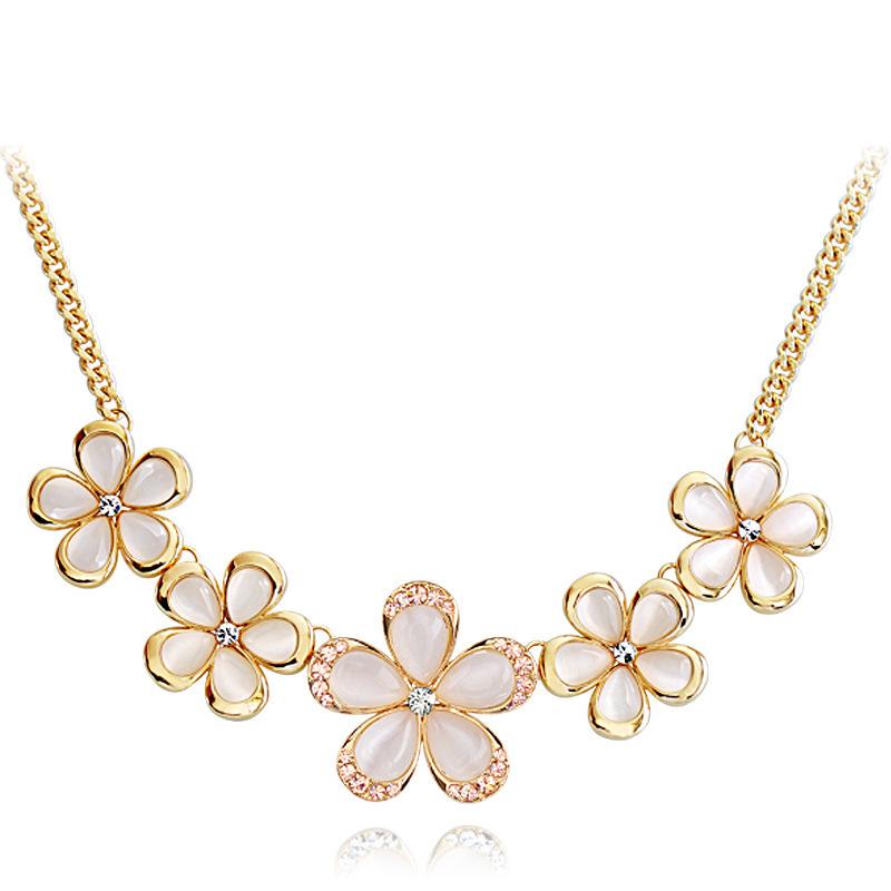 ! 2014 fashion elegant sweet pink cat eye flowers summer 18K gold necklace &pendant Women - Lenny Wang's store