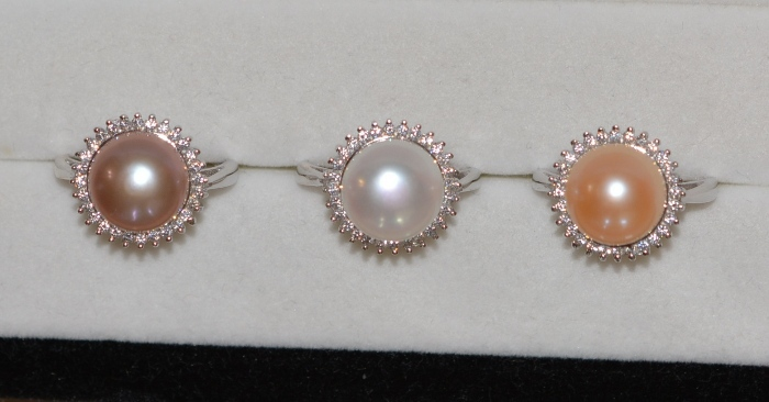 One Lovely big size 11-12mm AAA+ natural freshwater pearl ring(7colour can choose)925s ring cultured pearl,white,pink,lanveder(China (Mainland))