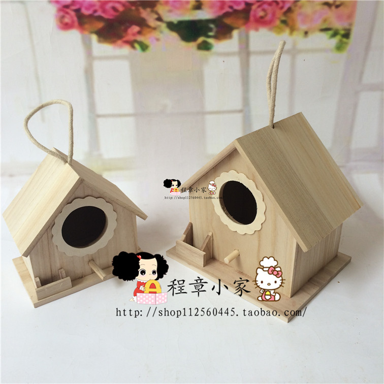 Wooden nest box peony breeding tiger parrot Munia cockatiels eaves swallows nest outdoor wooden bird house(China (Mainland))