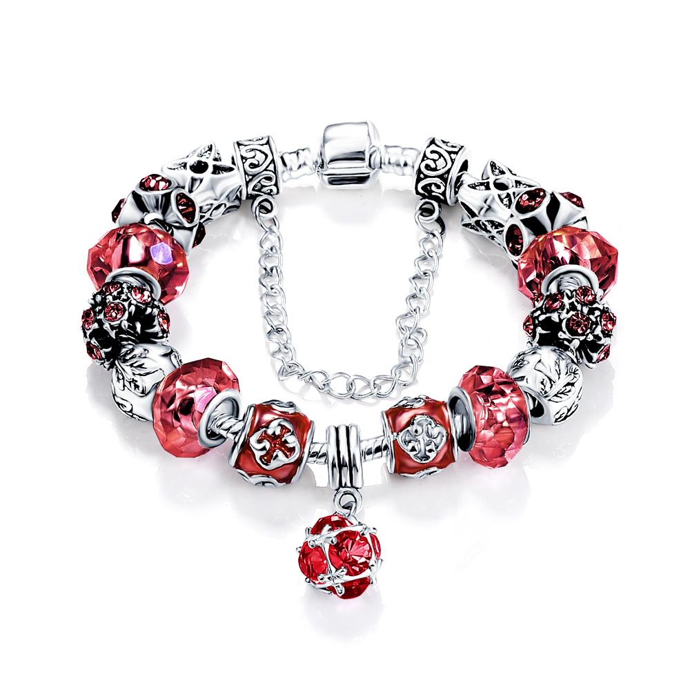 Beagloer European Style Authentic Tibetan Silver Red Crystal Charm Bracelets Women Original DIY Jewelry Christmas Gift PCBR0054(China (Mainland))