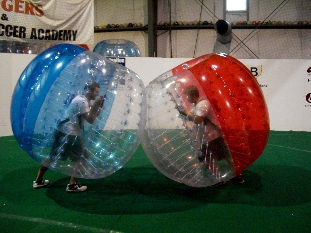 Free shipping! Half color 1.0m 0.8mm PVC the soccer buble,giant inflatable balls,big inflatable balls on sale(China (Mainland))