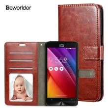 For Asus ZenFone 2 Laser ZE500KL (5.0 inch) Luxury Retro Crazy horse Leather Case With Photo frame Card holder Wallet Cover(China (Mainland))