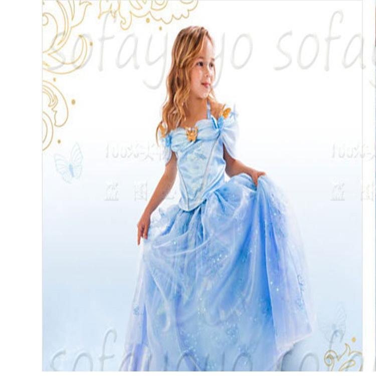 Newest Cinderella Kids Dress 2015 Cinderella Cosplay Costume Girl Princess fancy Dress(China (Mainland))