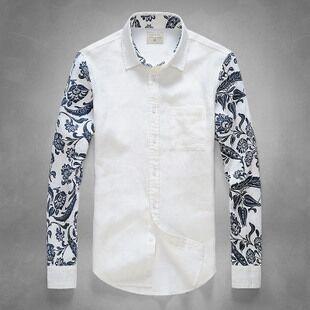 2015 white shirt men brooksfield shirts mens floral dress for Mens white floral shirt