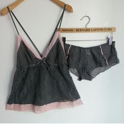 free shipping M368 Sexy cutout lace female sleepwear spaghetti strap thin nightgown pajama pijama pyjama set