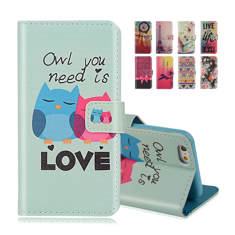 iphone SE Wallet Style Flip Case Cute OWL Print Apple 5 5S 5G Stand PU Leather Cell Phone Protective Cover - K-Tech store