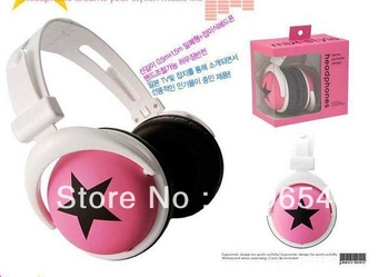 3.5mm Mix Star Style Headphone Headset Earphone With Retail Package10pcs/lot EMS Free Shipping
