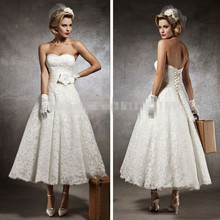 White Lace Vintage Tea Length Short A-Line Wedding Dresses