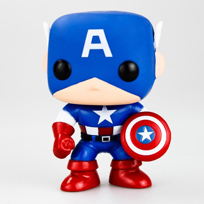 Super HOT Captain America Marval Hollywood Movie Super Hero FUNKO POP 10cm kawaii cute Bobble Head Toys PVC Action Figure Anime(China (Mainland))
