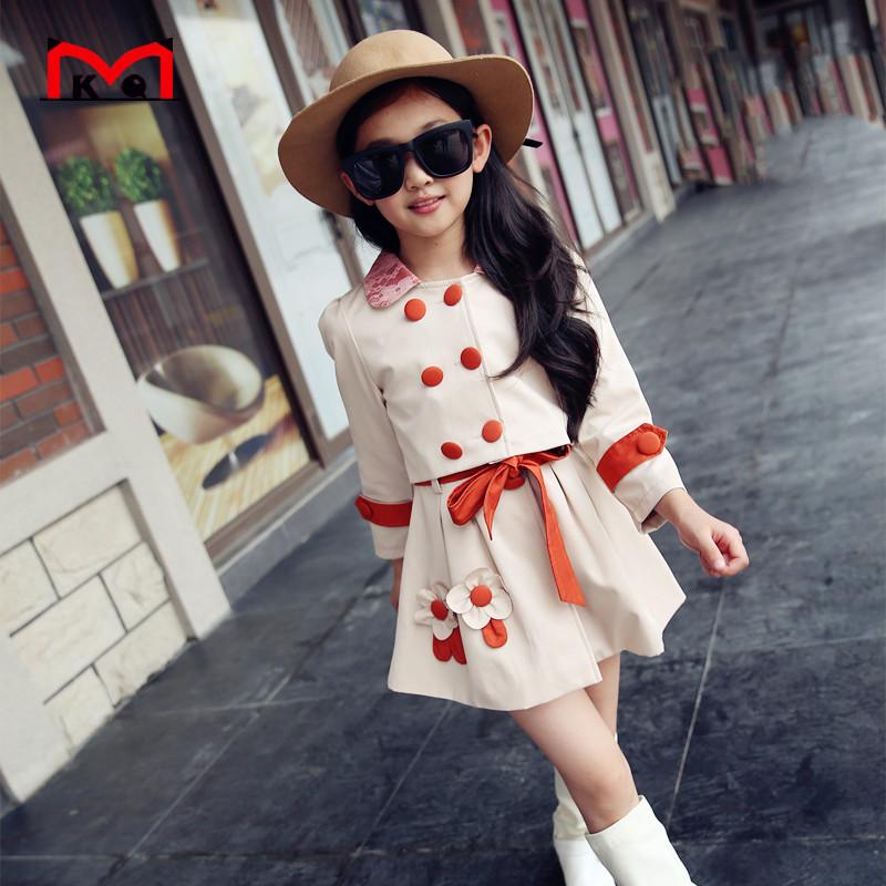 High quality girls windbreaker suit 2016 spring autumn girls cotton long sleeved shirt pants 2 PCS