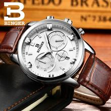 2016 Switzerland luxury watch men BINGER brand quartz full stainless Wristwatches Chronograph Diver glowwatch B9011-3