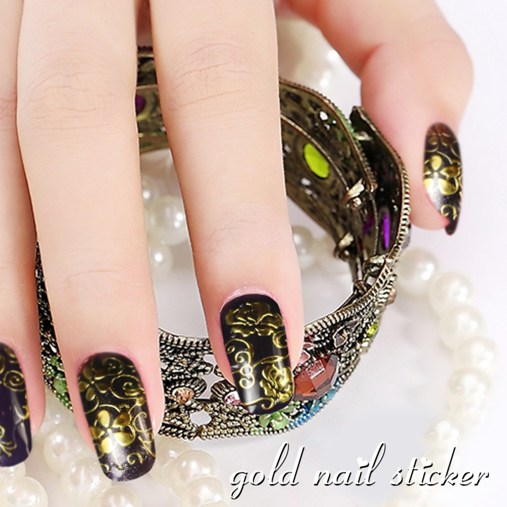 100 Brand New Hot Golden Diy Nail Stickers Art Unique Beauty Decals Manicure