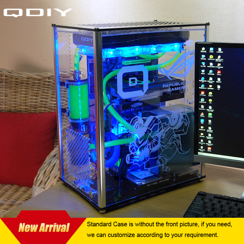 QDIY PC-A009 ATX Transparent Computer Case PC Case Water Cooled Acrylic Computer Case(China (Mainland))