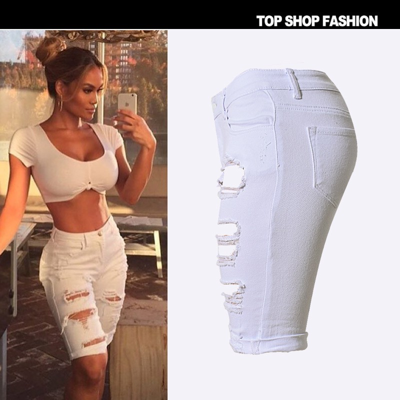 women Ripped Knee White Length jean Pants ripped Shorts jeans for women Hole Short Pants jeans woman Distressed Shorts pantalon