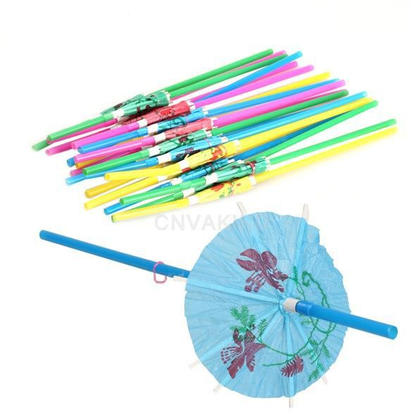 Free Shipping 20pcs/lot Small umbrella Strawsfor Wedding Birthday Party Biodegradable(China (Mainland))