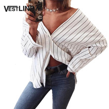 Buy VESTLINDA Shirt 2017 Summer White Striped Shirt Women V Neck Shoulder Top Blusa Long Sleeve Button Cotton Sexy Casual Shirts for $8.40 in AliExpress store