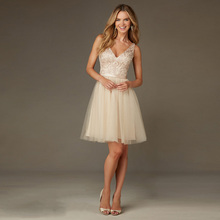Elegant V-Neck Backless Lace Sequined Appliques Short A-Line  Bridesmaid Dresses