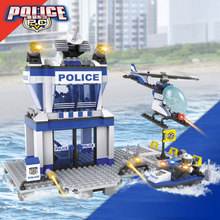 Super Water police command center station building block policeman minifigures helicopter boat bricks compatible legoes city