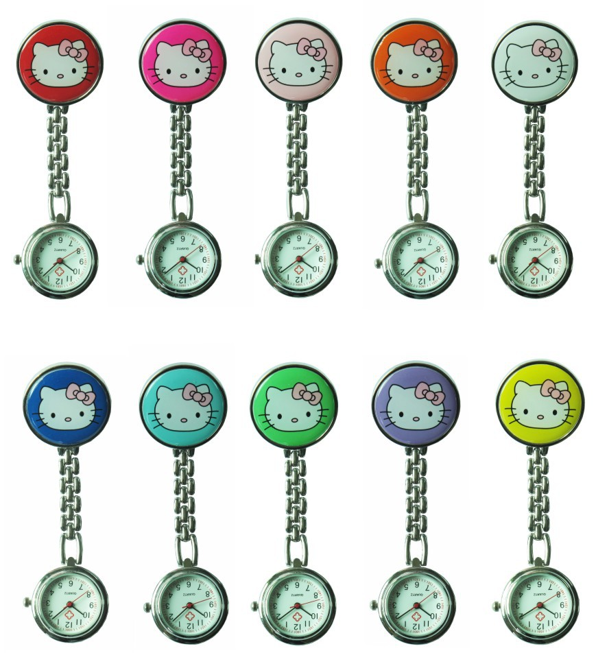 Free drop Shipping retail s hot sales cute hello kitty nurse alloy Stainless steel pocket watch - junda watches store