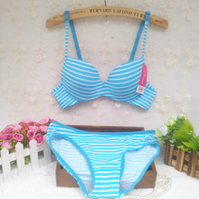 2015 new cotton Summer stripe seamless underwear push up thin cup lingerie young girl cute and comfortable 5 colors bra set(China (Mainland))