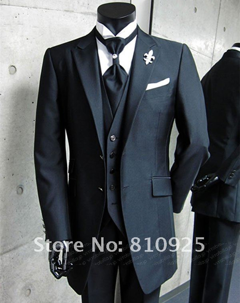 bespoke suit black custom made groom wedding for men dinner 3 piece suits