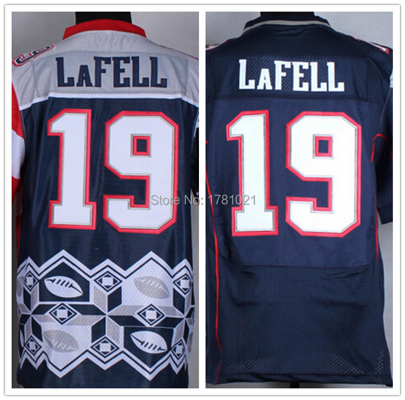 Cheap Wholesale 2015 Noble Fashion Men's Elite American Football Jersey #19 Brandon LaFell Jersey Navy Blue Stitched Rugby Shirt(China (Mainland))