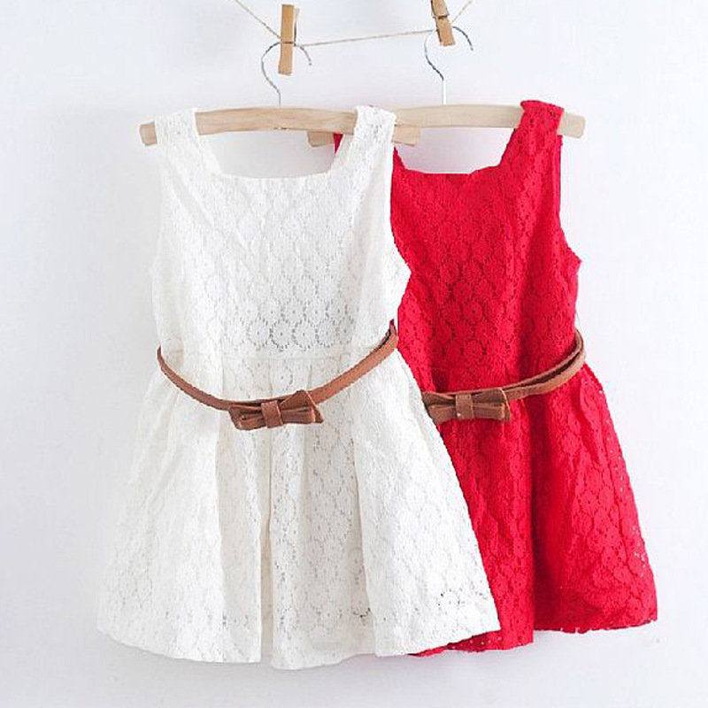 4-8 Years New Summer Lace Girls Dress Baby Girl Princess Dress Chlidren Clothes Kids Party Clothing For Girls Free Belt DS30(China (Mainland))