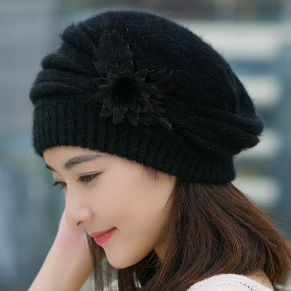 996584a28433b 2019 Women Beret Fashion Womens Flower Knit Crochet Beanie Hat ...