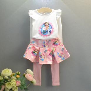 Lovely Girls Dress Elsa Short Skirt + T shirt 2 Pcs Set Sky 3~7 year Party Clothing Sets Anna Elsa Long sleeve Girl Snow Queen(China (Mainland))