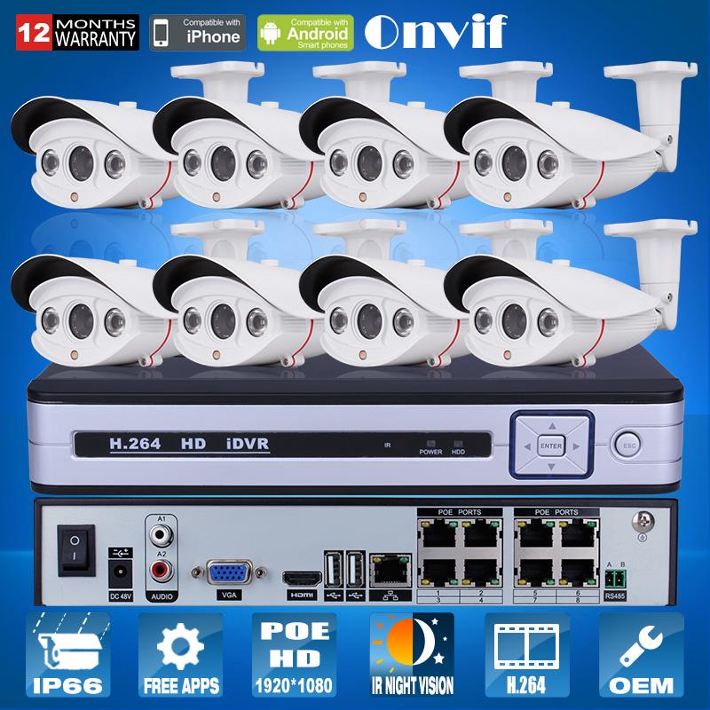 Plug And Play 8CH CCTV System POE NVR Onvif 1080P HD Sony Sensor 25fps Array IR Outdoor Security Surveillance IP POE Camera(China (Mainland))
