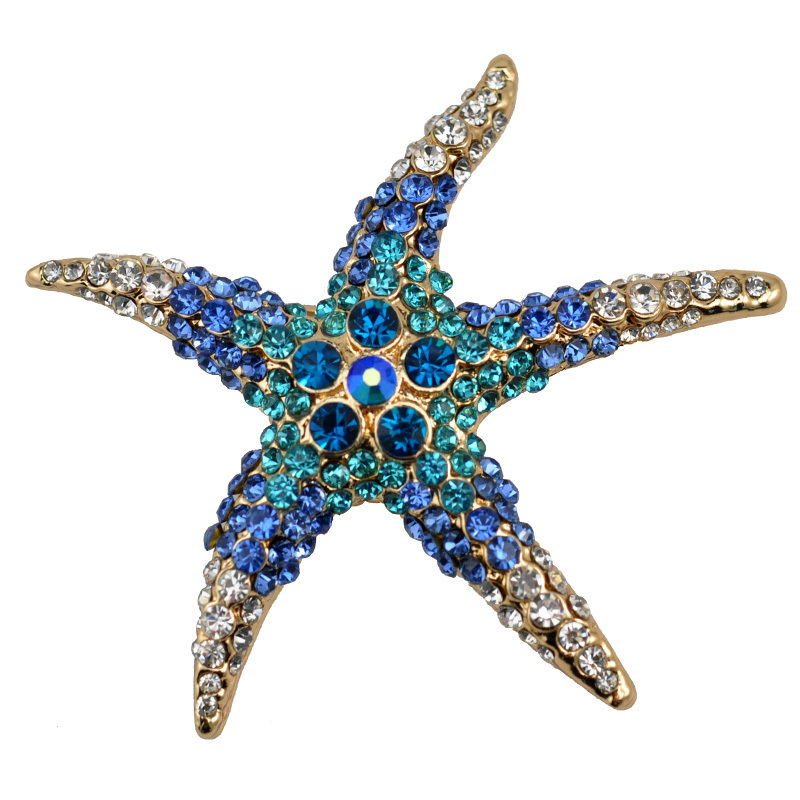 3 Kind Colors Optional Adorable Blue Green Crystal Rhinestone Starfish Brooch(China (Mainland))