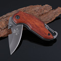 BUCK Titanium Folding Knife Wood Handle Survival Tactical Pocket Knife Small Camping Knife 1651