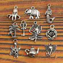 Buy Mixed Tibetan Silver Plated Key Mermaid Flower Tree Elephant Charms Pendants Turtle Jewelry Making Diy Charm Craft Handmade for $1.23 in AliExpress store