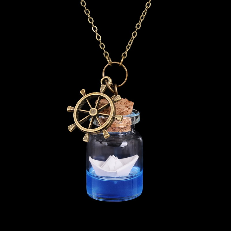 Paper Boat Bottle Necklace Origami Ocean Cute Glass Vial Wishes Bottle Pendant Necklace Summer Jewelry(China (Mainland))