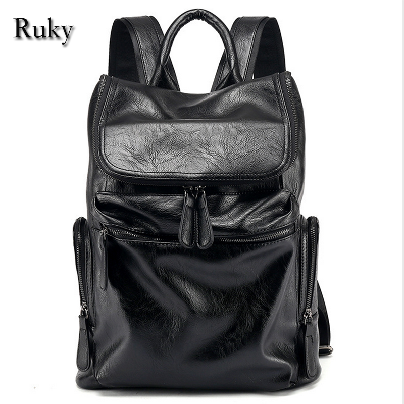 Casual High Capacity Quality Men Backpack New Fashion famous brand High Grade Leather Designer Men's Schoolbag Travel Laptop Bag(China (Mainland))