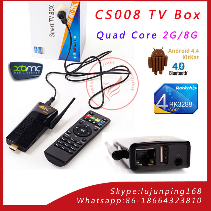CS008 Android 4.4 TV Box Quad Core RK3288 Android TV Stick with remote control,2GB RAM 8GB ROM External 2.4G antenna Connect(China (Mainland))