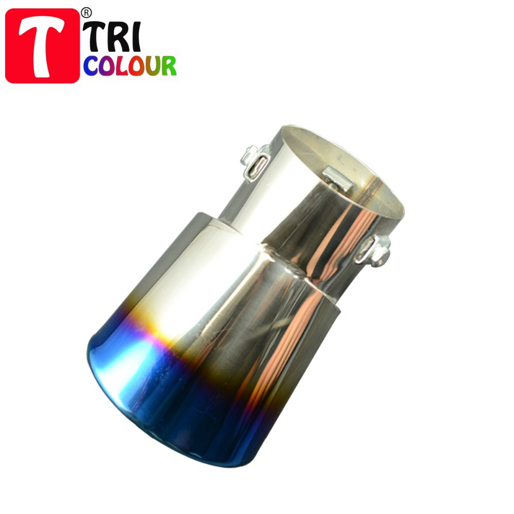 (Tricolor Muffler) Bending Bluing Stainless Steel Chrome 77mm universal fit car Exhaust Muffler End Pipe 4pcs/lot #LW32(China (Mainland))