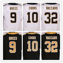 Best quality jersey,Men's 9 Drew Brees 10 Brandin Cooks 32 Kenny Vaccaro elite jerseys,White and Black,Size M(40)-XXXL(56)(China (Mainland))