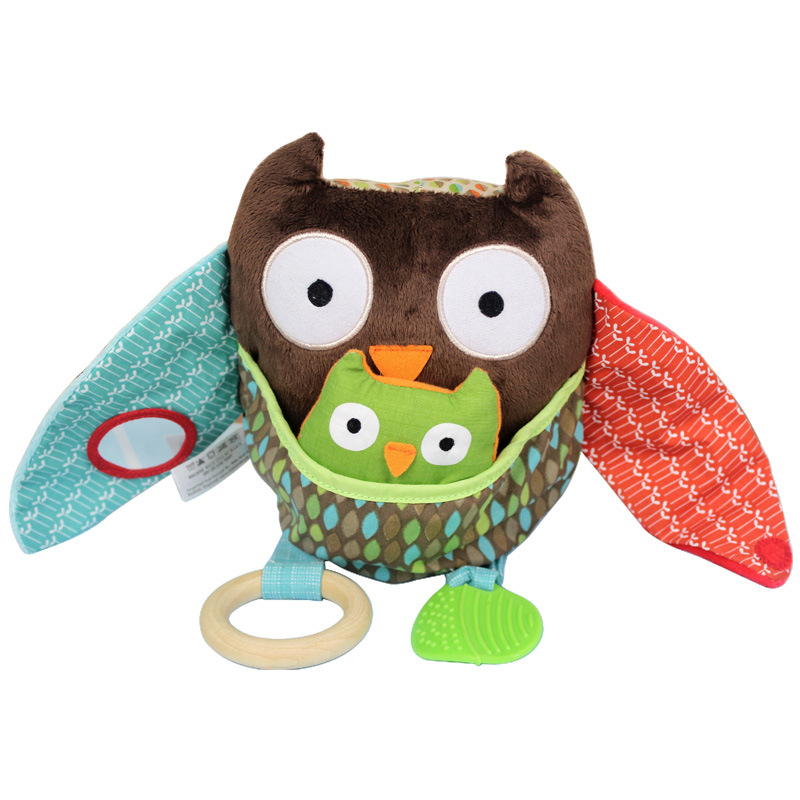 2016 NEW hot 1pcs baby rattle toys animal doll Hide Farm Owl Activity Toy Multi-Functional Plush Toy Children Baby rattles 19cm(China (Mainland))