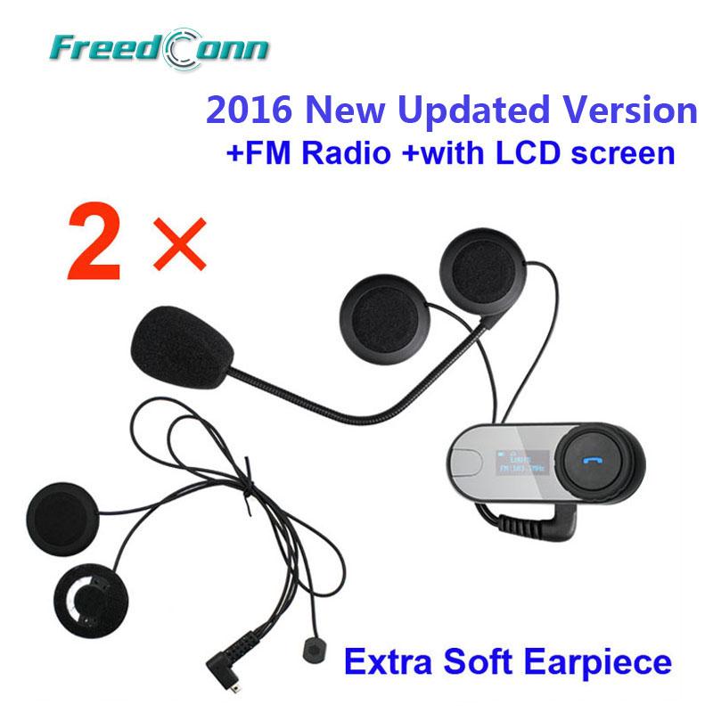 Free shipping!! 2x FreedConn TCOM-SC W/Screen Bluetooth Motorcycle Helmet Intercom Headset with FM radio +Soft Earpiece(China (Mainland))